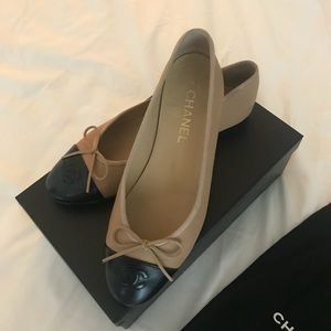 Chanel Tan and Black Ballet Flats